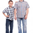 Father and son isolated on white — Stockfoto