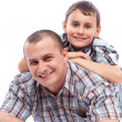 Foto Stock: Happy father and son