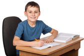 School child doing homework — Stock Photo