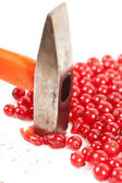 Red currant smashed with hammer — Stock Photo