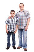 Father and son isolated on white — Stock Photo