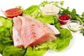 Fresh raw zander fillet — Stock Photo