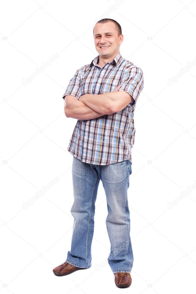 Full length portrait of a casual dressed young man isolated on white background — Stock Photo #5132301