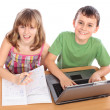 Stock Photo: School children working together, educational concept