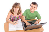 School children working together, educational concept — Foto Stock