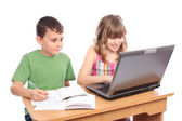 School children working together, educational concept — Stock Photo