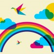 Colorful humming birds and rainbow — Stock Vector