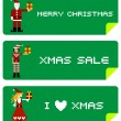 Stock Vector: Xmas labels with pixel characters
