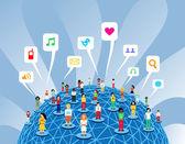 Rete globale di social media — Vettoriale Stock