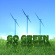 Foto Stock: Go Green eolic energy sign