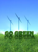 Go Green eolic energy sign — Stock Photo