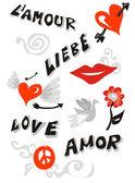 Cartel de iconos de amor — Vector de stock