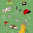 Cartoon golf icons set — Stock Vector