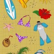 Royalty-Free Stock Vector Image: Surfing cartoon icons set.