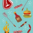 Cartoon barbecue icons set — Stock Vector