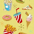 Royalty-Free Stock Vector Image: Grunge fast food icons set
