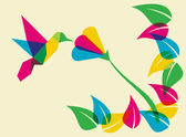Spring time humming bird and flower — Stock Vector