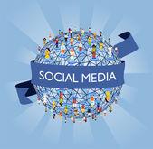 Rete sociale dei media al mondo — Vettoriale Stock