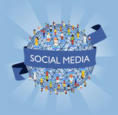 Světový sociální mediální sítě — Stock vektor