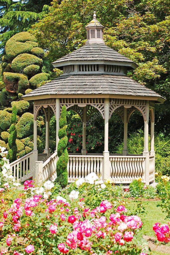Wooden gazebo in rose garden ? Stock Photo ? montana #5182921