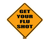 Zeichen erinnert jeden an ihre grippeschutzimpfung erhalten — Stockfoto