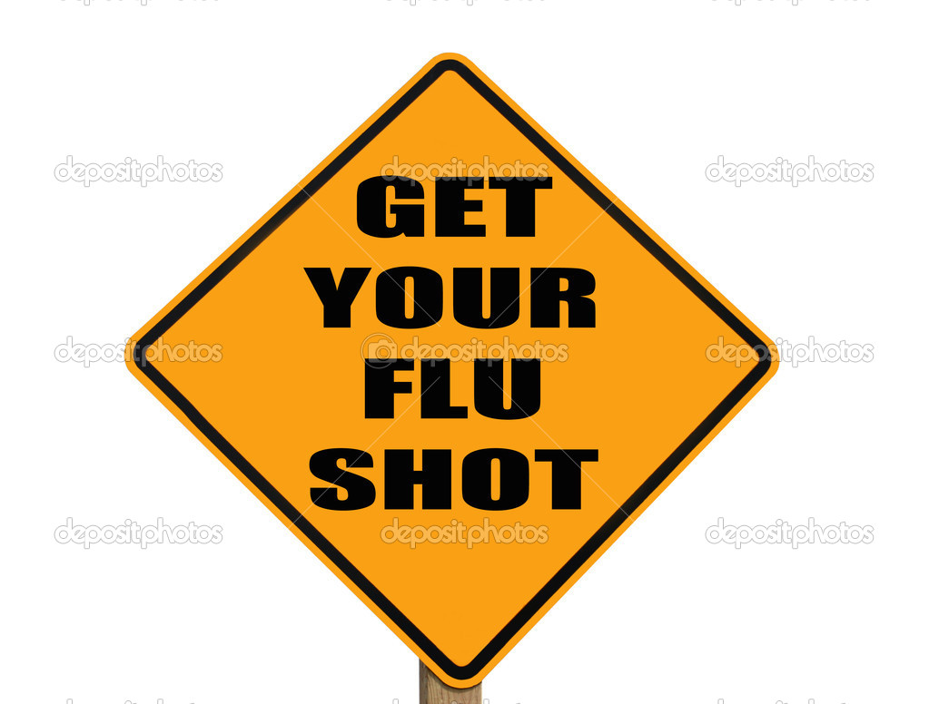 Caution sign reminding everyone to get their flu shot with clipping path included  Stock Photo #3995472