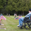 Stock Photo: Veterin wheelchair at cemetary