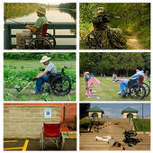 Handicappd man in various situations — Stock Photo