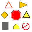 Collection of various shaped traffic signs — Stock Photo
