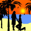 Stock Photo: Sunset beach marriage proposal