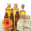 Stock Photo: SpTreatment Oils and Raw Soap