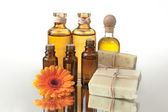 Spa Treatment Oils and Raw Soap — Stock Photo