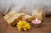 Peeling Cream, Flower, Candle and Natural Soap — Stock Photo