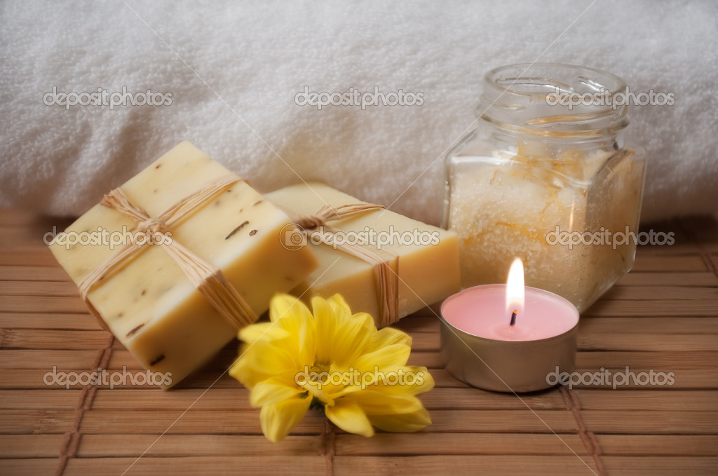 Homemade Peeling Cream, Flower, Candle and Natural Soap  Stock Photo #4765986