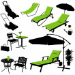 Stock Vector: Furniture vector silhouettes