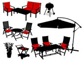 Furniture vector silhouettes — Stock Vector