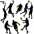 Basketball, silhouettes collection - vector — Stock Vector