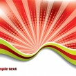 Abstract red background with colored waves - Stock Vector