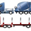Stock Vector: Trucks with mixer and timber trailer
