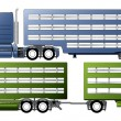 Stock Vector: Trucks with animal transportation trailers