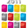 3d blocks 2011 calendar — Stock Vector