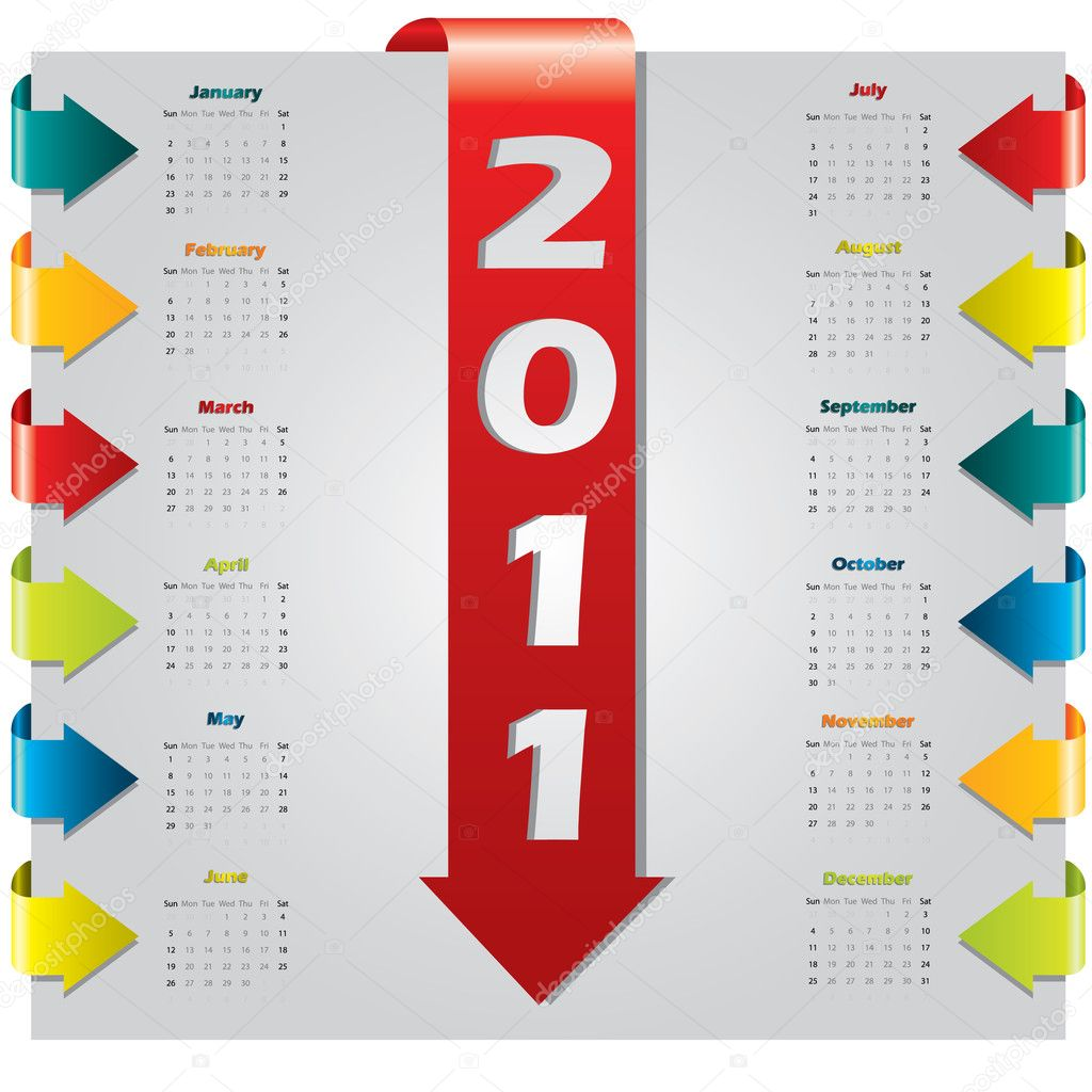 Colored arrow design 2011 calendar — Stock Vector #4004911