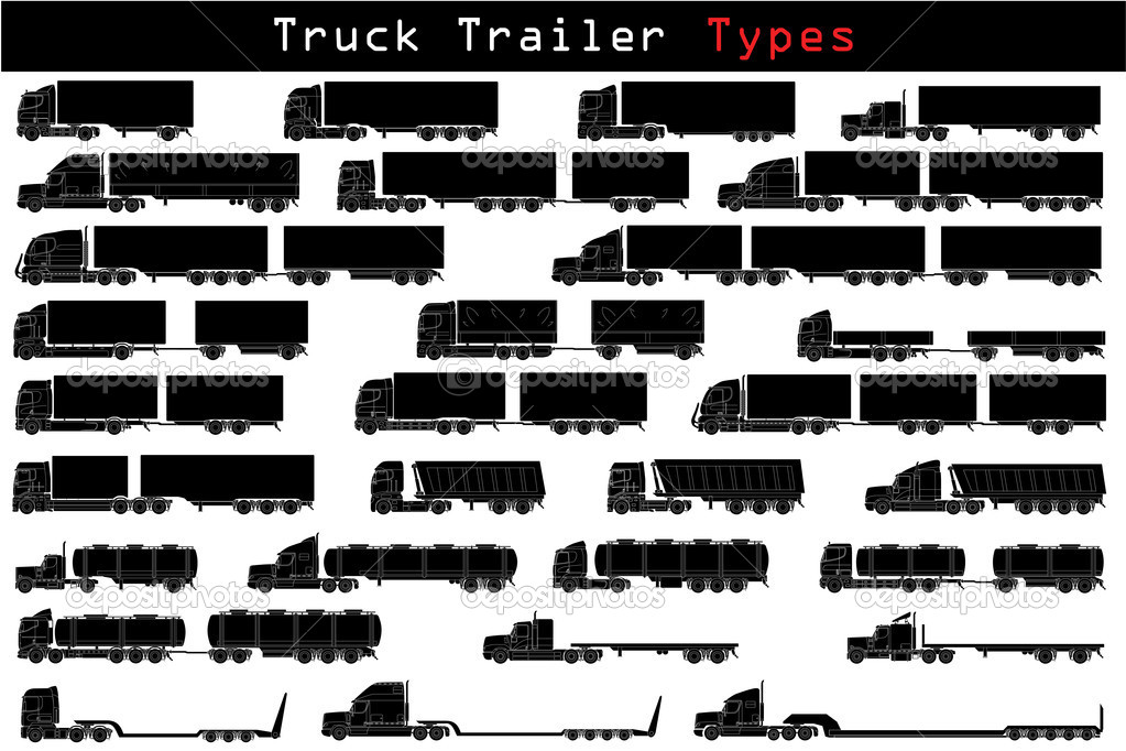 Truck trailer types in detailed icons — Stock Vector #4004912