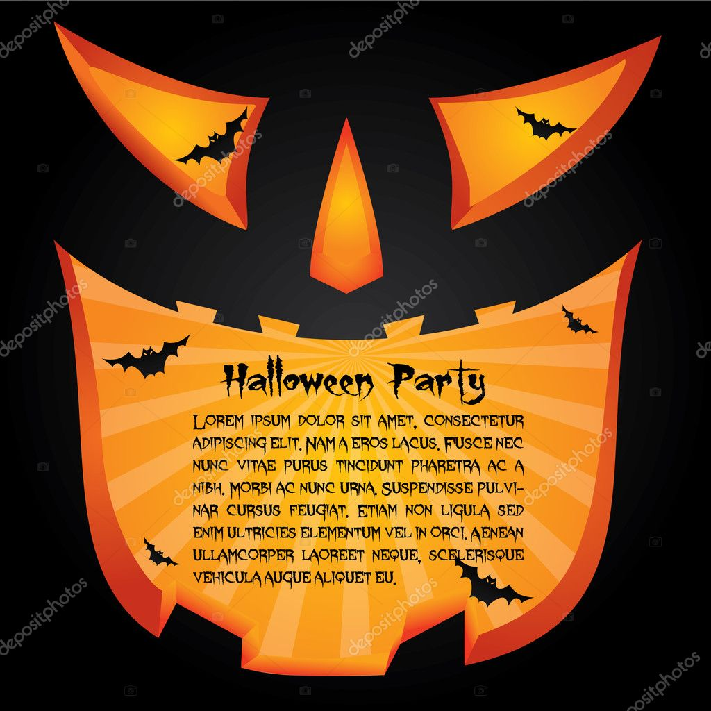 Halloween party card jack lantern design  Grafika wektorowa #4013051