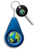 Key and globe design keyholder — Stock Vector