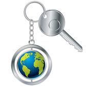 Globe keyholder — Stock Vector