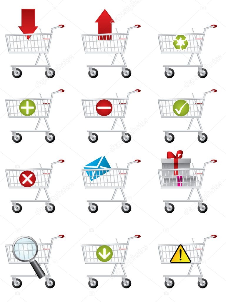Various shopping cart icons for the web — Stock Vector #4063368