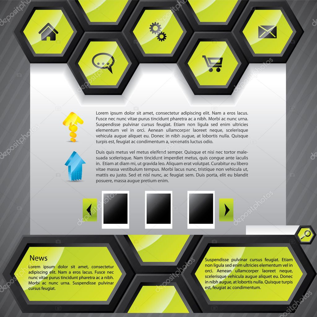 depositphotos 4128212 Cool hexagon website template Grey Modern Website Design Elements: Buttons, Form, Slider, Scroll, Icons, ...