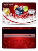 Christmas decorations credit card design — Stock Vector