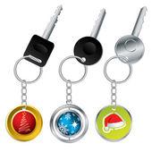 Keys with christmas theme keyholders — Stock Vector